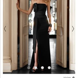 "WHBM Black Column Dress Satin Bow ""Katharine"" Gown"